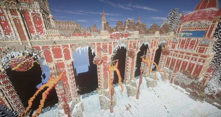 TheReawakens Tage der Kreationen Die Bridge City of Non Anor Minecraft Bauideen Download Stadt Schnee Winter Turm 7