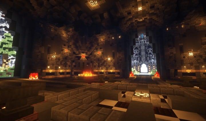 Epische böse Themen mittelalterliche Fraktion Spawn frei große Burg Bäume Minecraft Gebäude Ideen Server 3