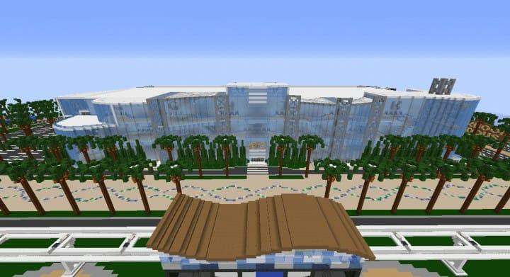 Alleron Convention Center Alleron City Minecraft Gebäude Ideen erstaunliche Büro Stadt Glas Phantasie 5