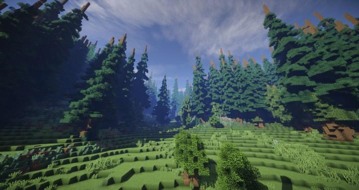Hiraen 2k x 2k Gelände hohe Kiefern benutzerdefinierte erstaunliche Minecraft Bau Ideen Welt Maler Welt Maschine 2