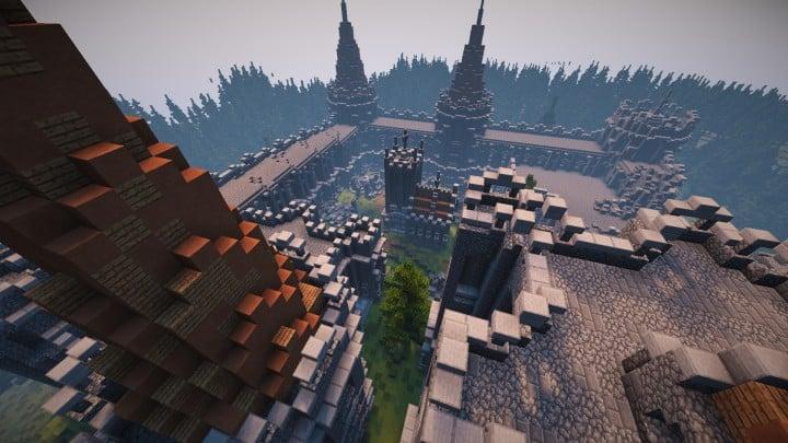 Verlassene mittelalterliche Burg Minecraft Gebäude Blaupausen Download Fluss 13