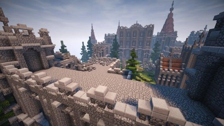 Verlassene mittelalterliche Burg Minecraft Gebäude Blaupausen Download Fluss 15