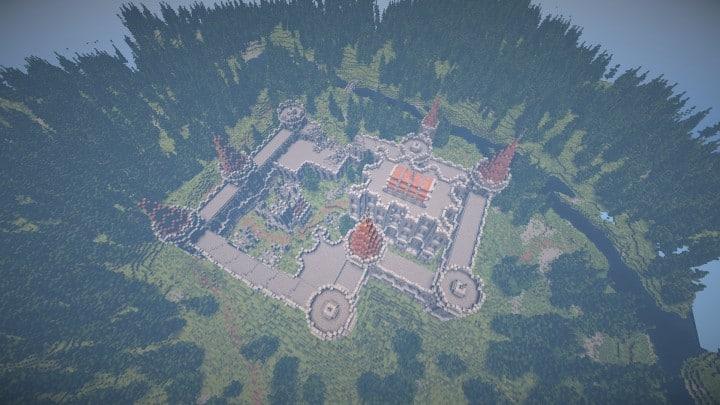 Verlassene mittelalterliche Burg Minecraft Gebäude Blaupausen Download Fluss 7