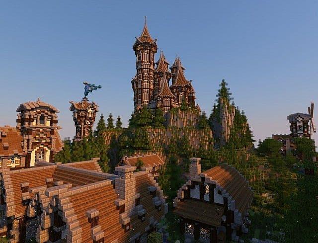 Mittelalterliche Burg und Dorf minecraft Gebäude Ideen 12