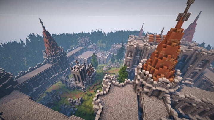 Verlassene mittelalterliche Burg Minecraft Gebäude Blaupausen Download Fluss 8
