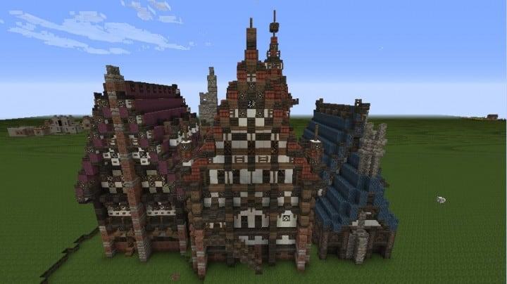 Drei merovianische Häuser minecraft building ideas download mittelalterlich 3