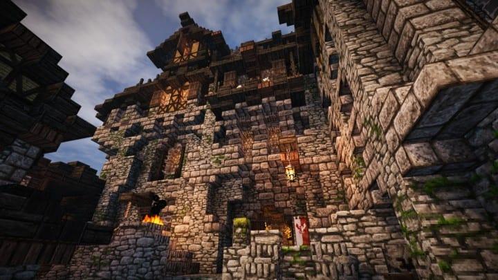 Stadtfelsen eine mittelalterliche Burg Minecraft Gebäude Ideen Download Berge 01