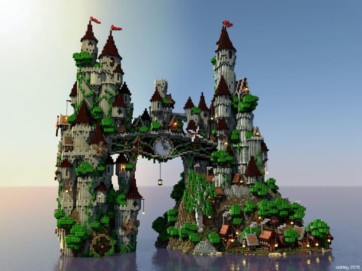 Uhrwerk-Insel Minecraft Schlossgebäudeideen 4