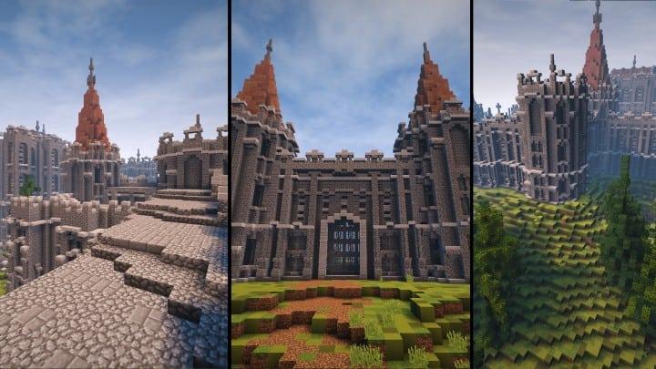 Verlassene mittelalterliche Burg Minecraft Gebäude Blaupausen Download Fluss 2
