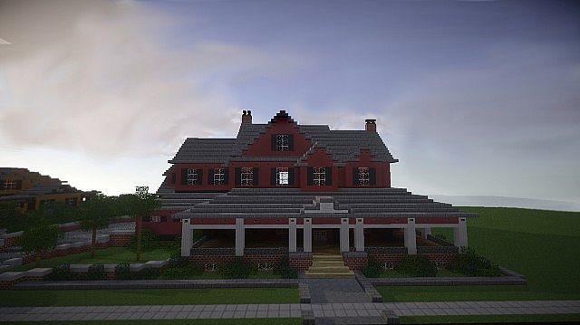 Rote alte Mansion Minecraft-Gebäudeideen 5