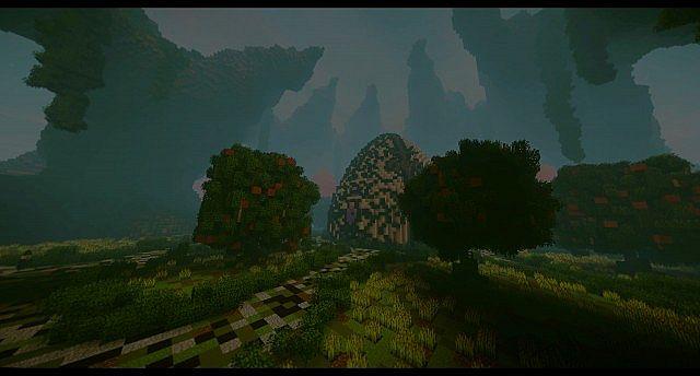 Huevo Custom Terrain Bio-Ei-Insel große Gebäude Ideen Minecraft