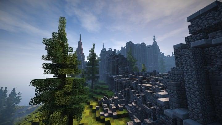 Verlassene mittelalterliche Burg Minecraft Gebäude Blaupausen Download Fluss 4