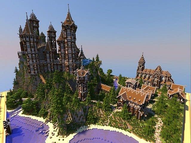 Mittelalterliche Burg und Dorf minecraft Bauideen 3