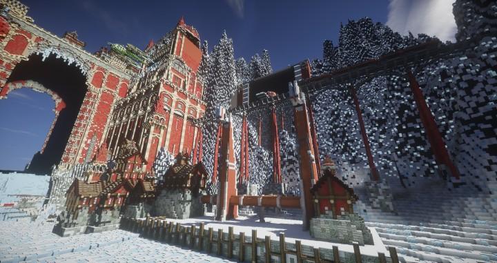 TheReawakens Tage der Kreationen Die Brückenstadt von Non Anor Minecraft Bauideen Download Stadt Schnee Winterturm 8