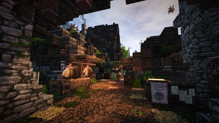 Stadtfelsen eine mittelalterliche Burg Minecraft Gebäude Ideen download mountains7