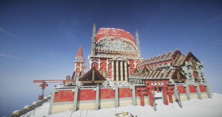 TheReawakens Tage der Kreationen Die Brückenstadt von Non Anor Minecraft Bauideen Download Stadt Schnee Winter Turm 6