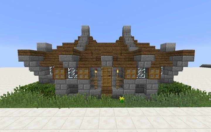 Überlebens - Haus - Tutorial wie man billige Minecraft Bauideen Holz und Stein 4