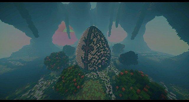 Huevo Kundenspezifisches Terrain Organische Eiinsel große Gebäudeideen minecraft 2
