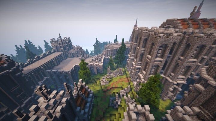 Verlassene mittelalterliche Burg Minecraft Gebäude Blaupausen Download Fluss 3