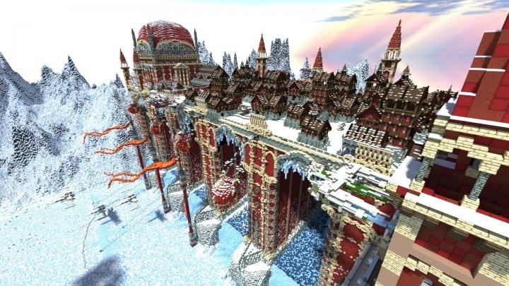 TheReawakens Tage der Kreationen Die Bridge City of Non Anor Minecraft Bauideen Download Stadt Schnee Winter Turm 2