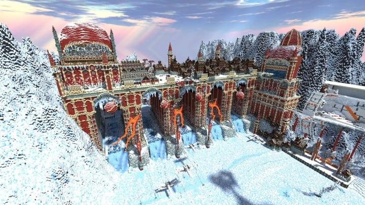 TheReawakens Tage der Kreationen Die Bridge City von Non Anor Minecraft Bauideen Download Stadt Schnee Winter Turm 3