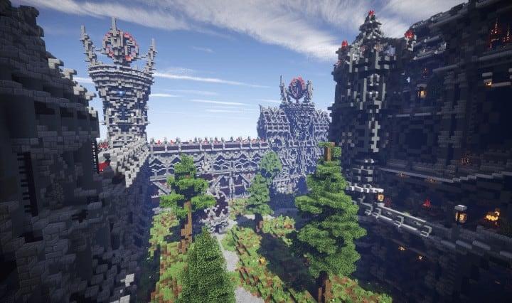 Epische böse Themen mittelalterliche Fraktion Spawn frei große Burg Bäume Minecraft Gebäude Ideen Server 5