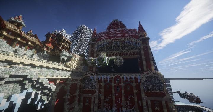 TheReawakens Tage der Kreationen Die Bridge City von Non Anor Minecraft Gebäude Ideen Download Stadt Schnee Winter Turm 10