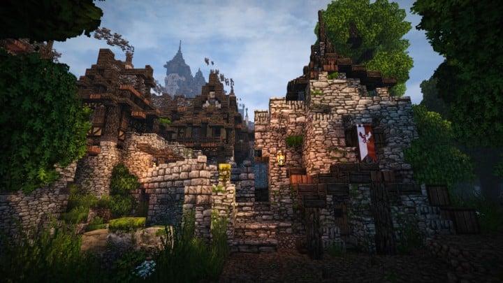 Stadtfelsen eine mittelalterliche Burg Minecraft Gebäude Ideen download mountains10